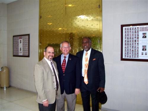 <Pictured from left to right: Mark Dorosin, Rep. Jamie Boles, Maurice Holland>