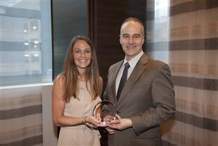 Holly Bannerman and Professor Victor Flatt with ABA SEER Law Student Program of the Year Award