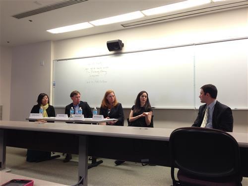 Students attend a panel of Pro Bono Alumni Board members during Pro Bono Week