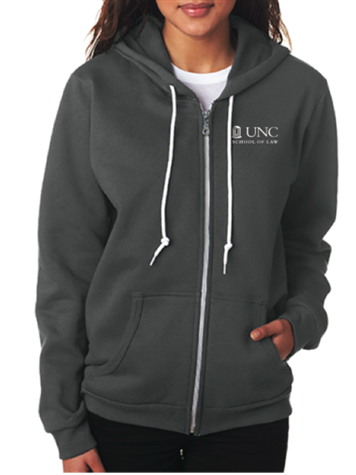 Charcoal Hoodie with full zipper and white UNC Law Logo on the left.