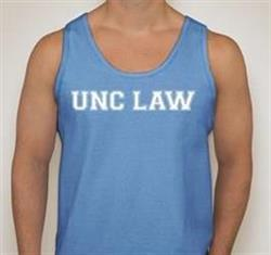 "Carolina blue tank top with White lettering saying ""UNC LAW"""
