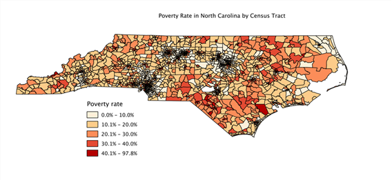 State map of poverty by census tract
