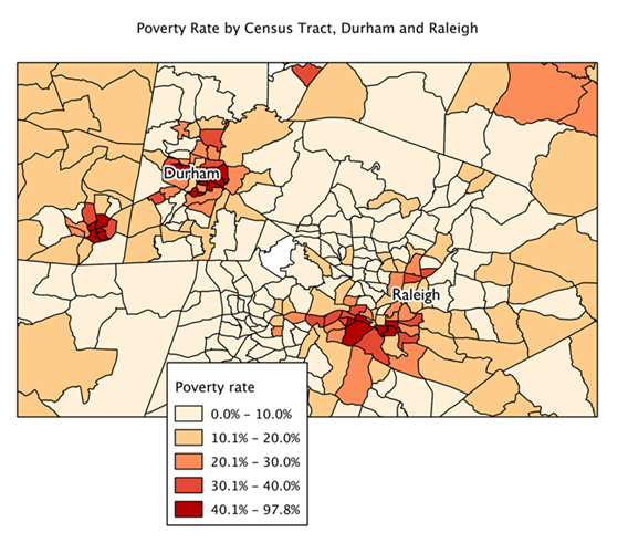 Map of poverty by census tract, Durham and Raleigh