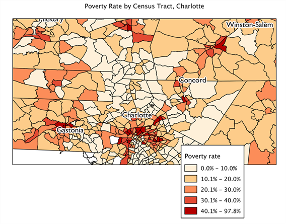 Map of poverty by census tract, Charlotte