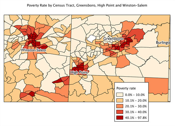 Map of poverty by census tract, Greensboro and Winston-Salem