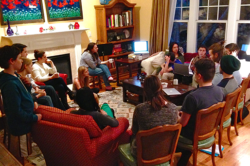 Students from Professor Gerhardt's Art Law class gather at her home to discuss their final projects.