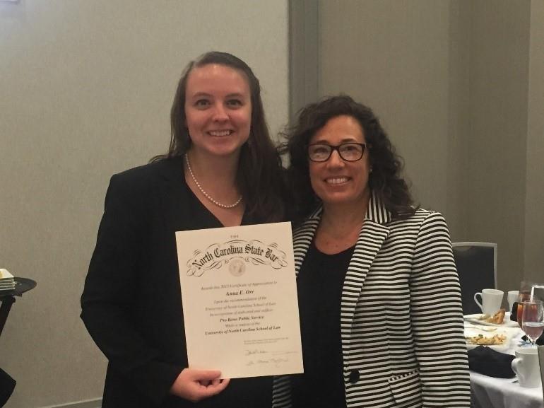 Anna Orr North Carolina State Bar's Annual Student Pro Bono Service Award