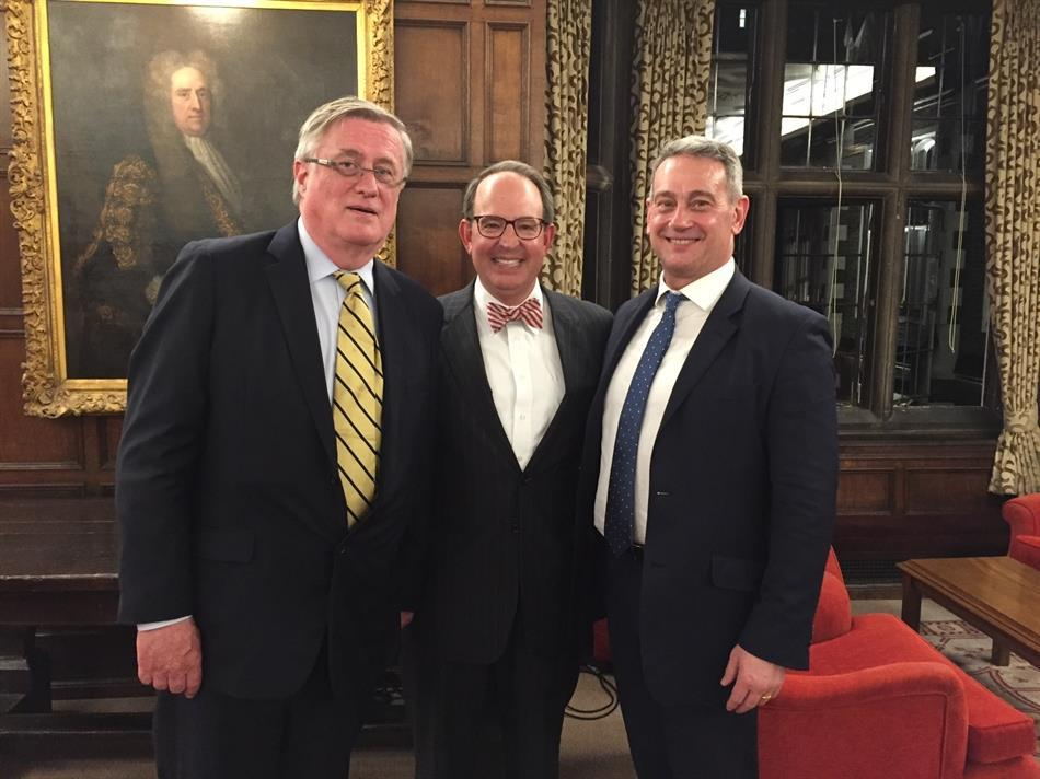 Richard Wilmot-Smith, sponsor of moot court exchange with Middle Temple; Dean Martin H. Brinkley