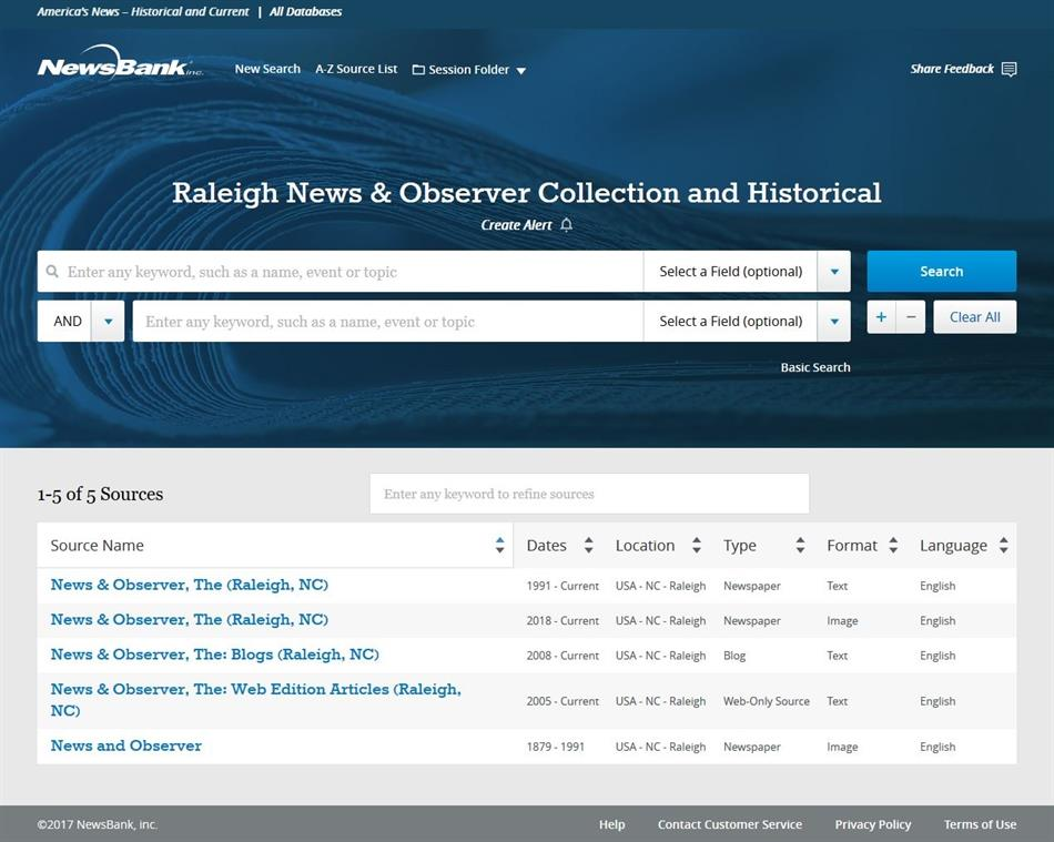 Screenshot of Raleigh News & Observer Historical Archive Database by NewsBank