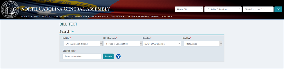 NCGA Website - Find a Bill