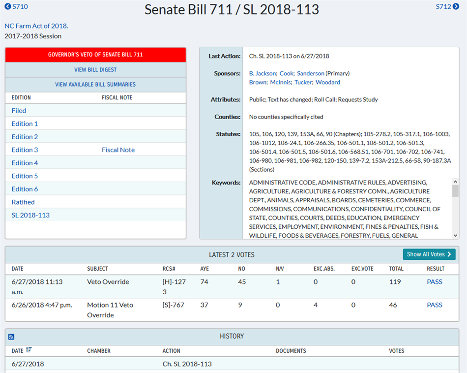 NCGA Website - Bill Tracking