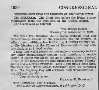 Congressional Record from November 3, 1939