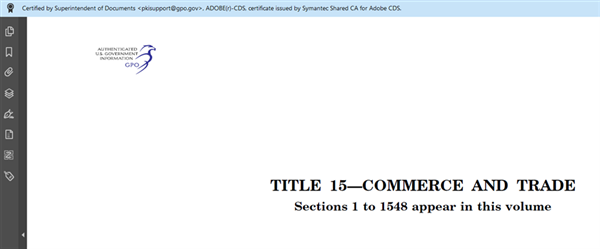 Title 15 from GovInfo on Adobe Reader