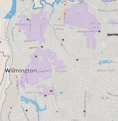 The above map shows clusters of Census blocks in Wilmington where 75% or more of residents are non-white.  A statewide map is available at http://www.uncinclusionproject.org/.