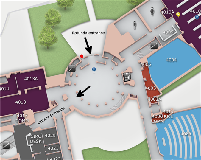 The red dot marks the far-right door of the Rotunda public patrons should use for evening and weekend access to the Law Library.