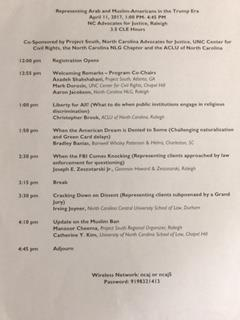 "The Agenda from the ""Representing Arab and Muslim-Americans in the Trump Era"" CLE"